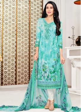 Karisma Kapoor Cotton Satin Aqua Blue and White Pant Style Pakistani Salwar Kameez