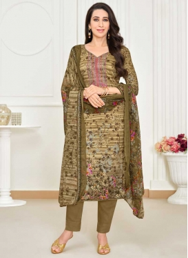 Karisma Kapoor Cream and Olive Pant Style Straight Salwar Kameez For Ceremonial