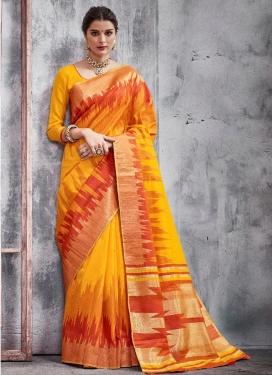 Khadi Silk Mustard and Orange Classic Saree
