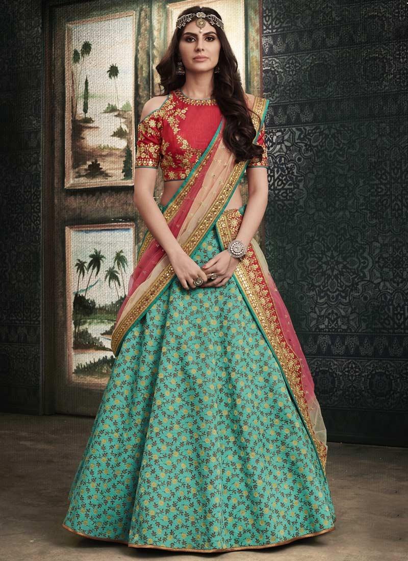 Khadi Silk Red and Turquoise Resham Work A Line Lehenga Choli