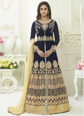 Krystle Dsouza Black and Cream Booti Work Kameez Style Lehenga Choli