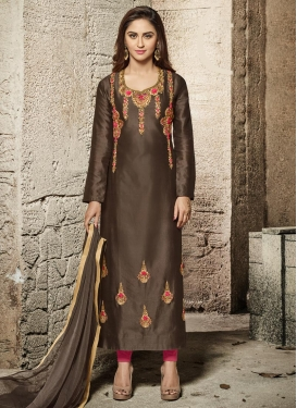 Krystle Dsouza Cotton Satin Brown and Hot Pink Long Length Pakistani Salwar Suit