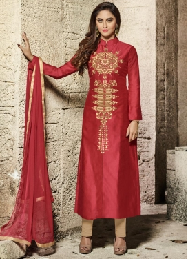 Krystle Dsouza Cotton Satin Cream and Salmon Designer Salwar Kameez