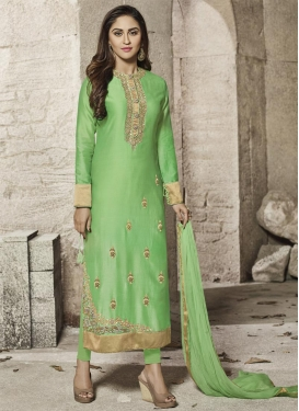 Krystle Dsouza Cotton Satin Lace Work Straight Pakistani Salwar Kameez