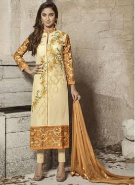 Krystle Dsouza Cream and Peach Straight Pakistani Salwar Suit For Ceremonial