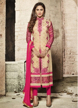 Krystle Dsouza Cream and Rose Pink Embroidered Work Churidar Designer Suit