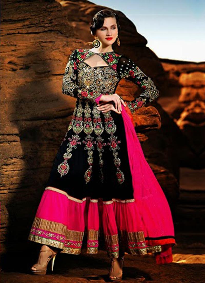 Lace Enhanced Georgette Designer Salwar Kameez