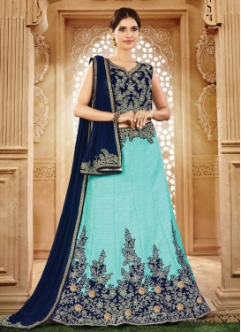 Lace Work Aqua Blue and Navy Blue Silk Designer A Line Lehenga Choli
