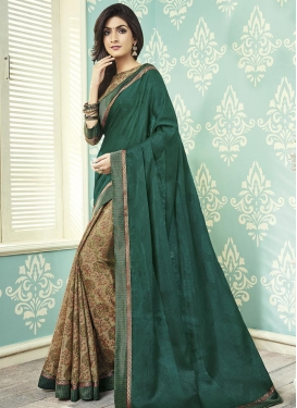 Lace Work Art Silk Beige and Bottle Green Half N Half Designer Saree