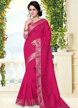 Lace Work Art Silk Contemporary Saree For Ceremonial
