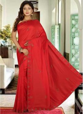 Lace Work Art Silk Designer Contemporary Style Saree