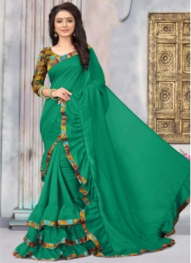 Lace Work Art Silk Designer Contemporary Style Saree For Ceremonial