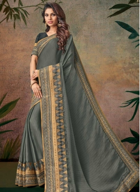 Lace Work Art Silk Designer Contemporary Style Saree For Festival
