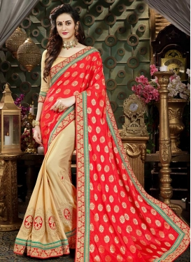 Lace Work Art Silk Half N Half Trendy Saree