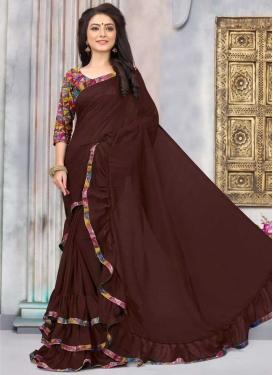 Lace Work Art Silk Traditional Designer Saree