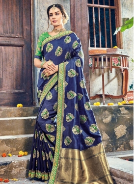 Lace Work Art Silk Trendy Classic Saree