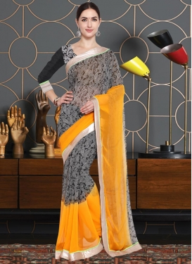 Lace Work Art Silk Trendy Classic Saree For Casual