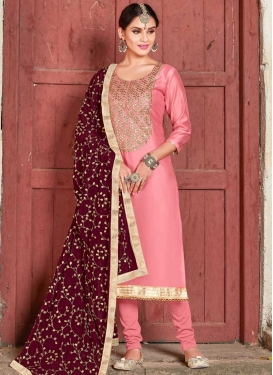 Lace Work Art Silk Trendy Straight Salwar Suit