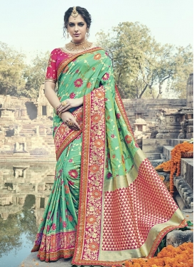 Lace Work Banarasi Silk Rose Pink and Sea Green Contemporary Style Saree