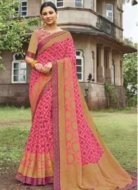 Lace Work Beige and Hot Pink Designer Traditional Saree