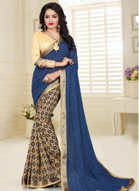 Lace Work Beige and Navy Blue  Half N Half Saree