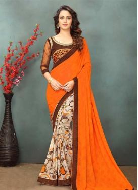 Lace Work Beige and Orange Half N Half Designer Saree