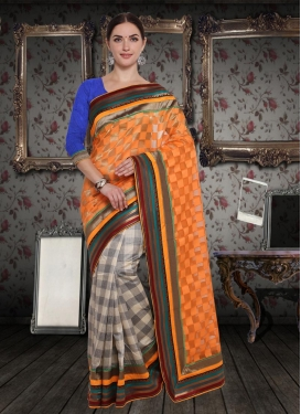 Lace Work Beige and Orange  Half N Half Trendy Saree