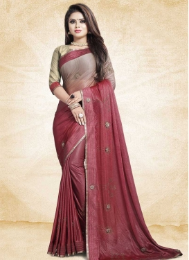 Lace Work Beige and Red Designer Traditional Saree