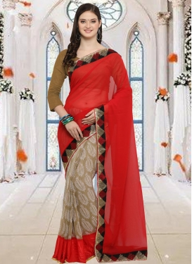 Lace Work Beige and Red Half N Half Trendy Saree