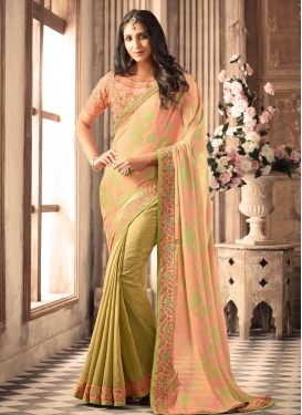 Lace Work Beige and Salmon Half N Half Trendy Saree