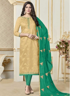 Lace Work Beige and Sea Green Trendy Churidar Salwar Kameez