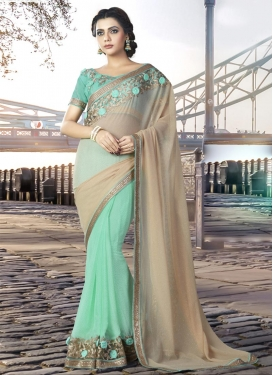 Lace Work Beige and Turquoise Faux Chiffon Half N Half Saree For Ceremonial