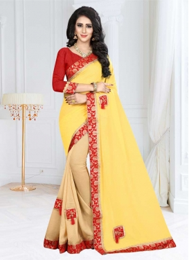 Lace Work Beige and Yellow Half N Half Designer Saree