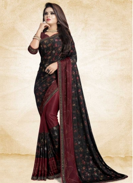 Lace Work Black and Maroon Classic Saree
