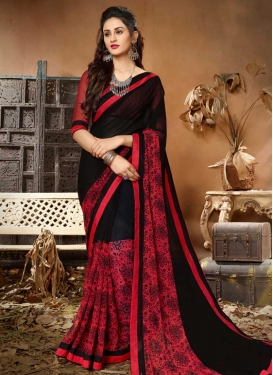 Lace Work Black and Red Trendy Classic Saree