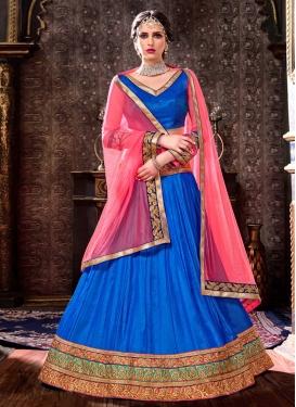 Lace Work Blue and Hot Pink Art Silk Lehenga Choli