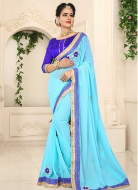 Lace Work Blue and Light Blue Traditional Saree