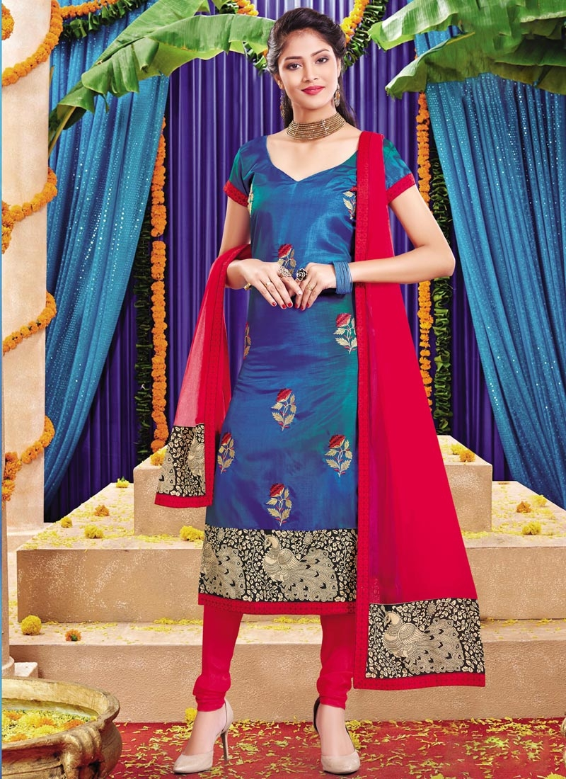 Lace Work Blue and Red Silk Trendy Straight Salwar Kameez