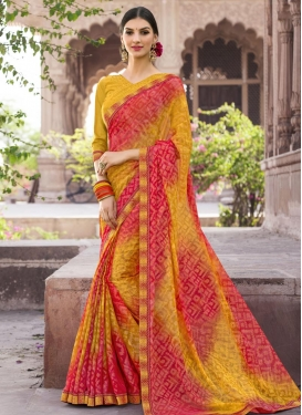 Lace Work Brasso Georgette Gold and Rose Pink Contemporary Saree