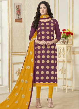 Lace Work Churidar Salwar Suit For Casual