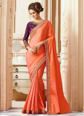 Lace Work Classic Saree For Festival