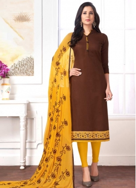 Lace Work Coffee Brown and Mustard Cotton Trendy Churidar Suit