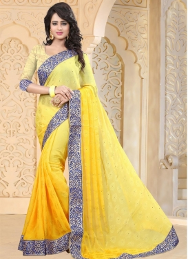 Lace Work Contemporary Saree For Festival