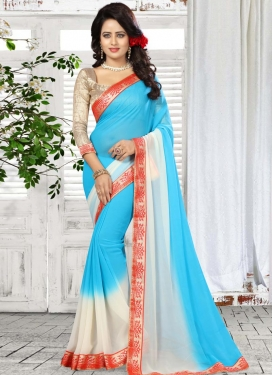 Lace Work Contemporary Style Saree For Casual