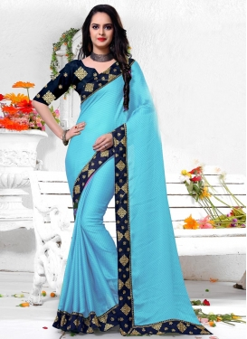Lace Work Contemporary Style Saree For Festival