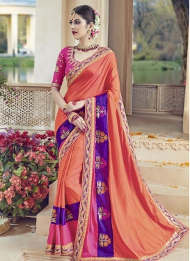 Lace Work Coral and Rose Pink Satin Silk Traditional Designer Saree For Festival