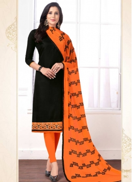 Lace Work Cotton Black and Orange Straight Salwar Suit