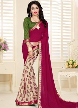 Lace Work Cream and Crimson Half N Half Designer Saree