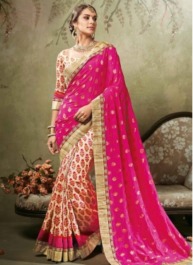 Lace Work Cream and Rose Pink Art Silk Half N Half Saree For Ceremonial