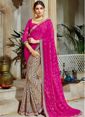 Lace Work Cream and Rose Pink Brasso Georgette Half N Half Designer Saree For Festival